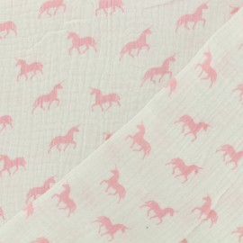 Tissu double gaze de coton licorne blanc - rose x 10cm