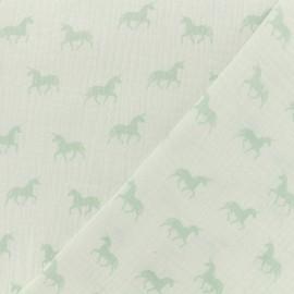 Tissu Oeko-tex double gaze de coton licorne blanc - jade x 10cm