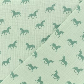 Tissu Oeko-tex double gaze de coton licorne menthe - celadon x 10cm