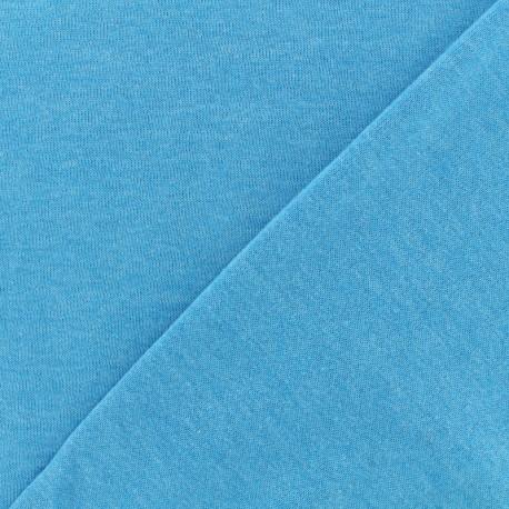 Tissu Oeko-Tex sweat léger chiné - turquoise x 10cm