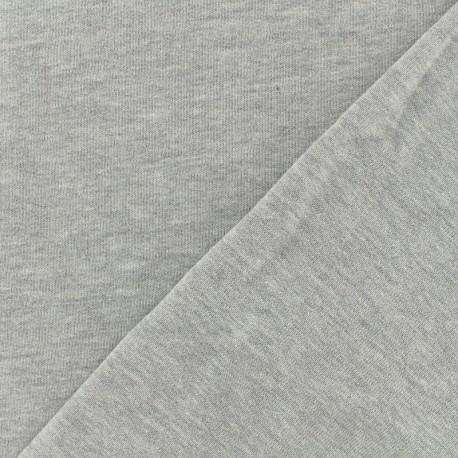 Tissu Oeko-Tex sweat léger chiné - perle x 10cm