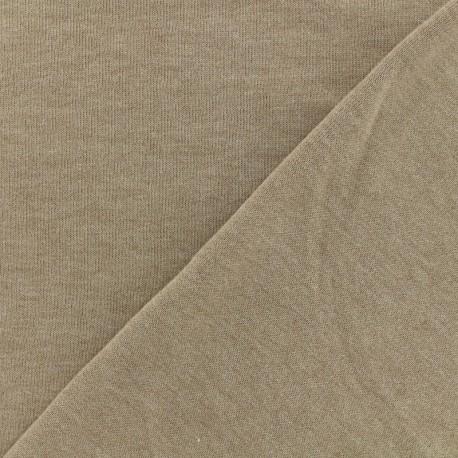 Tissu Oeko-Tex sweat léger chiné - beige x 10cm