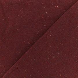 Tissu sweat moucheté carmin x 10cm