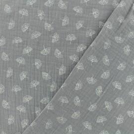 Tissu double gaze de coton ginkgo - gris x 10cm