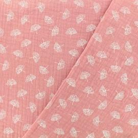 Tissu double gaze de coton ginkgo - vieux rose x 10cm
