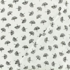 Tissu double gaze de coton ginkgo - blanc x 10cm
