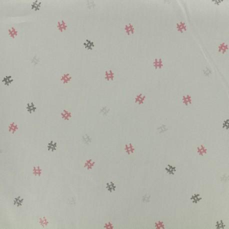 Cotton poplin fabric Poppy Iridescent hashtags - grey mouse x 10cm