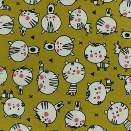 Tissu Oeko-Tex coton popeline Poppy Cute cats - moutarde anglaise x 10cm