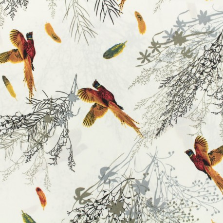 Doux papillons print polyester satin fabric - white x 10cm