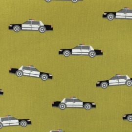 Cotton poplin fabric Poppy Police patrol - english mustard x 10cm