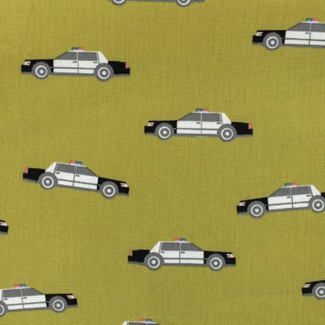 Cotton Oeko-Tex poplin fabric Poppy Police patrol - english mustard x 10cm