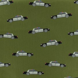 Tissu coton popeline Poppy Police patrol - vert kaki x 10cm