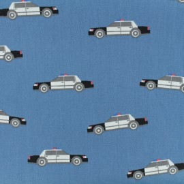 Tissu coton popeline Poppy Police patrol - bleu denim x 10cm