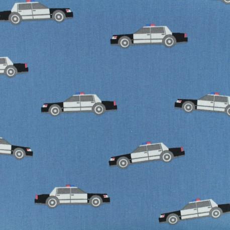 Cotton Oeko-Tex poplin fabric Poppy Police patrol - denim x 10cm