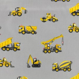 Tissu Oeko-Tex coton popeline Poppy Véhicules de construction - gris souris x 10cm