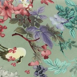 Tissu viscose Floral paradise - vert sauge x 10 cm