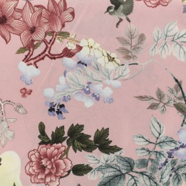 Tissu viscose Floral paradise - rose x 10 cm