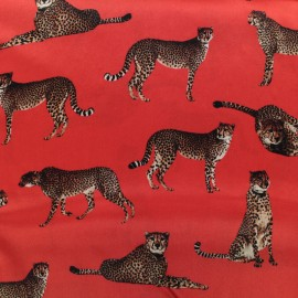 Leopard Silk Fabric - red x 22cm