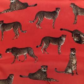Tissu soie léopard - rouge x 22cm