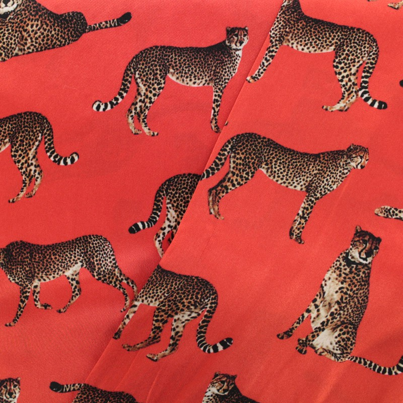 Leopard Silk Fabric Red X 22cm