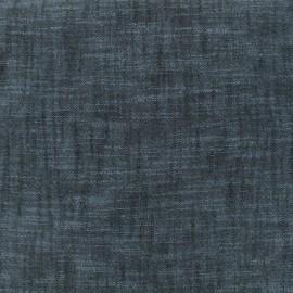 Tissu toile de coton lin uni - bleu marine x 10 cm