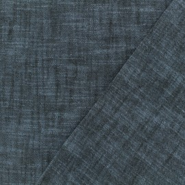 Plain cotton linen canvas fabric - navy blue x 10cm