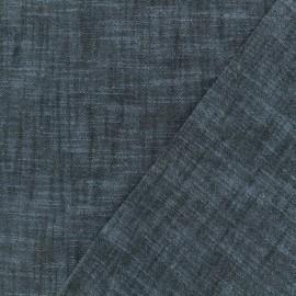 Plain cotton linen canvas fabric - navy blue x 10cm
