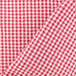 Little gingham Seersuker fabric - red x 10cm