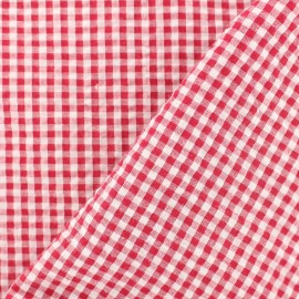 Tissu Seersucker petit vichy - rouge x 10cm