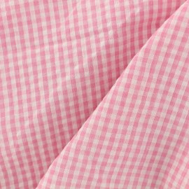 Little gingham Seersucker fabric - pink x 10cm