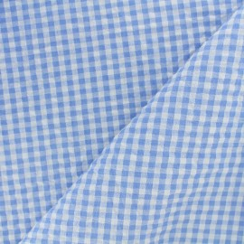 Little gingham Seersuker fabric - blue sky  x 10cm