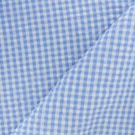 Tissu Seersucker petit vichy - bleu ciel x 10cm