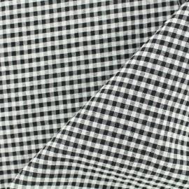 Tissu Seersucker petit vichy - noir x 10cm