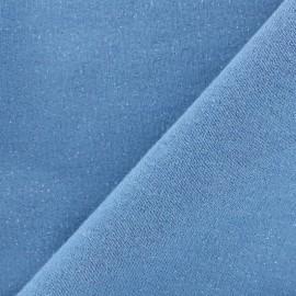 Tissu sweat léger Molletonné Pailleté - denim x 10cm