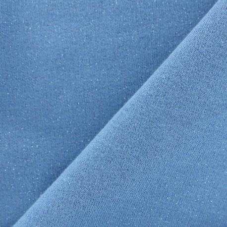 Jogging fabric Molletonné Pailleté - denim x 10cm