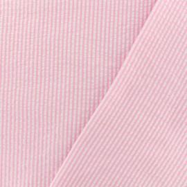 Tissu Seersucker petites rayures - rose x 10cm