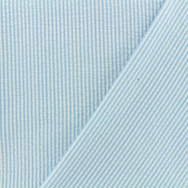 Little stripes Seersucker fabric - blue sky x 10cm
