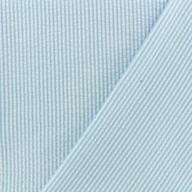 Tissu Seersucker petites rayures - bleu ciel x 10cm