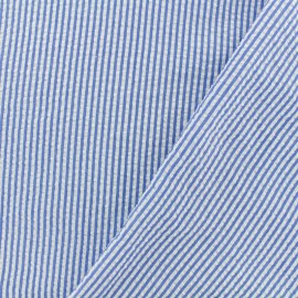 Tissu Seersucker petites rayures - bleu x 10cm
