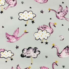 Tissu jersey Poppy Swan sweet heart - perle x 10cm