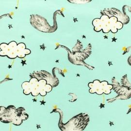 Tissu jersey Poppy Swan sweet heart - aqua x 10cm
