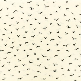 Microfiber satin fabric Pearl bird by Penelope® - white x 10cm