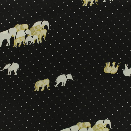 Microfiber satin fabric Pearl elephant by Penelope® - black x 10cm