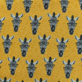 Tissu Oeko-Tex sweat léger Poppy Zebra is watching you - moutarde x 10cm