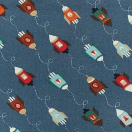 Tissu Oeko-Tex sweat léger Poppy Espace shuttle - bleu x 10cm