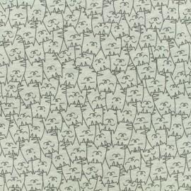Tissu Oeko-Tex jersey Poppy Cats everywhere - noir sur gris x 10cm