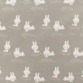 Tissu Oeko-Tex jersey Poppy Binky bunny - gris x 10cm