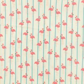 Tissu déperlant short de bain flamant rose - blanc x 10cm