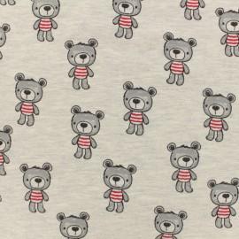 Tissu Oeko-Tex jersey Poppy Beautiful bear - gris clair x 10cm