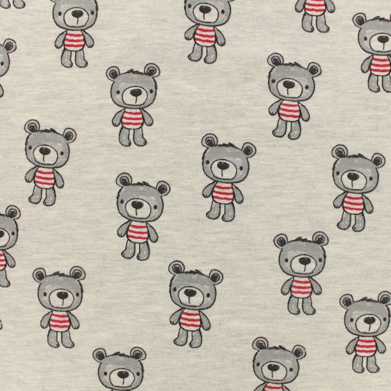 bec3029e87f Oeko-Tex jersey designed by Poppy Beautiful bear - light gris x 10cm ...
